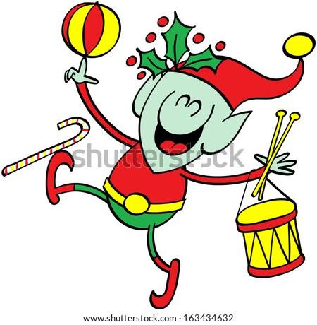 Cute green elf smiling and having fun while playing with Christmas toys such as a drum, a ball and a candy cane - stock vector