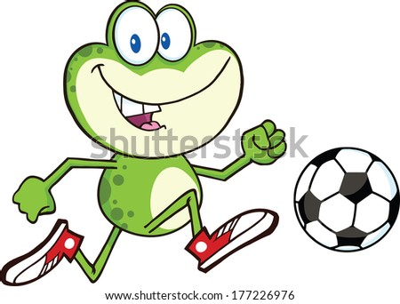 Cute Green Frog Cartoon Character Playing With Soccer Ball. Vector Illustration Isolated on white - stock vector