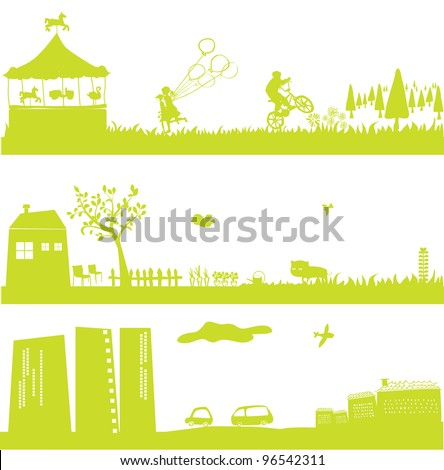 cute green landscapes and cityscape - stock vector