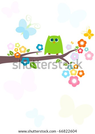 cute green owl with flowery tree - stock vector