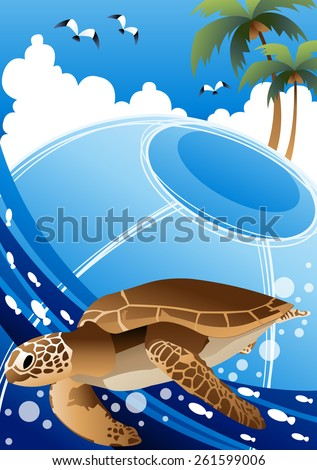 Cute Green Turtle with Summer Tropical Island - happy marine life enjoying fun with saltwater fish in beautiful under water on a background with bright blue sky and white clouds : vector illustration - stock vector