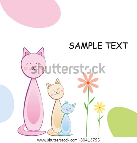 Cute Greeting Card With Cats - stock vector