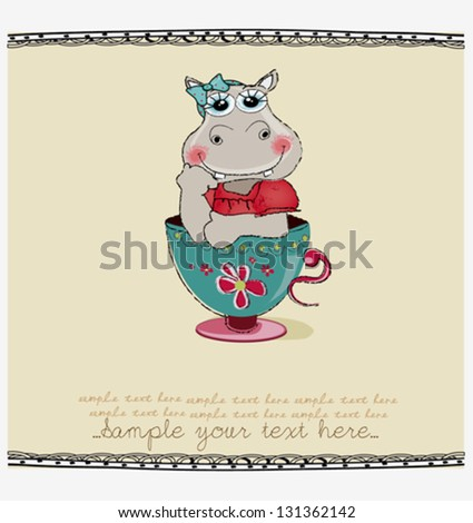 cute greeting card with hippo in cup - stock vector