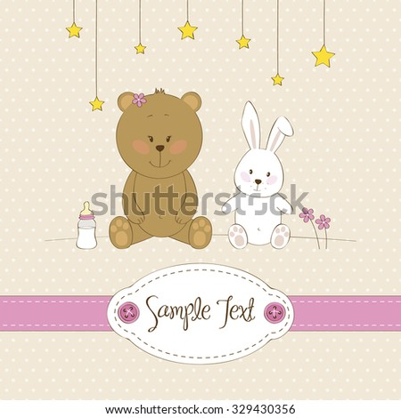 Cute greeting card with teddy bear and bunny - stock vector
