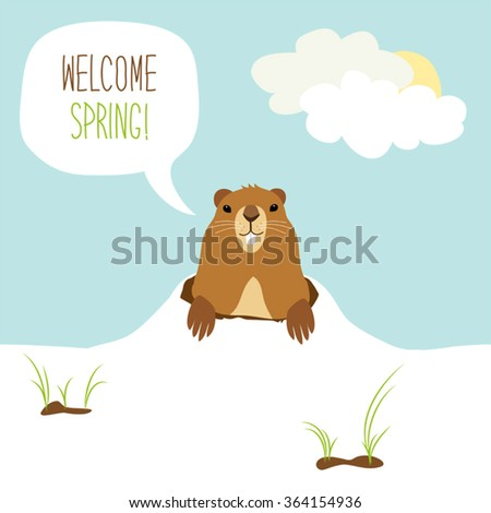 Cute Groundhog Day card as funny cartoon character of marmot with speech bubble and hand written text - stock vector