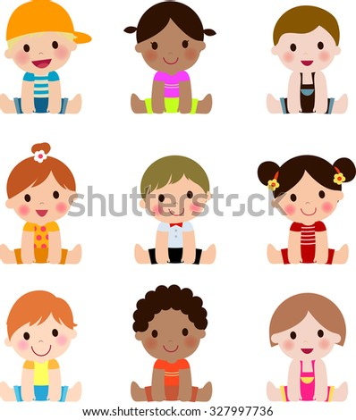 Cute group of children collection - stock vector