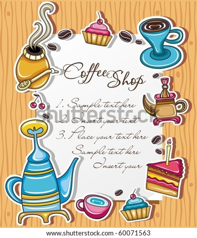 Cute grunge frame with coffee, tea, cake, yerba mate symbols, isolated on wooden background 3. - stock vector