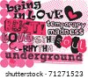 cute grunge typography - stock vector