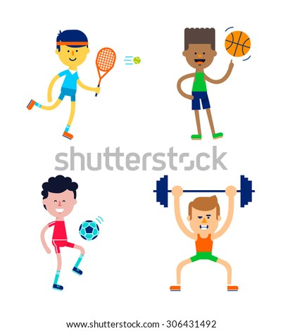 Cute guys do sports - tennis, basketball. football, weight lifting. Character set. Flat design. Vector illustration. - stock vector