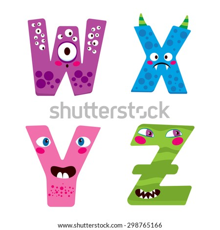 Cute Halloween alphabet with funny w x y z monster characters - stock vector