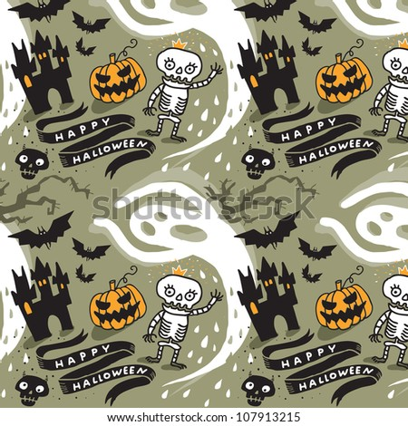 Cute Halloween background. Vector drawing.