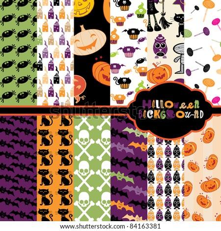 Cute Halloween backgrounds - stock vector