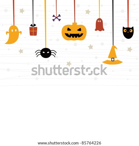 Cute Halloween card - stock vector