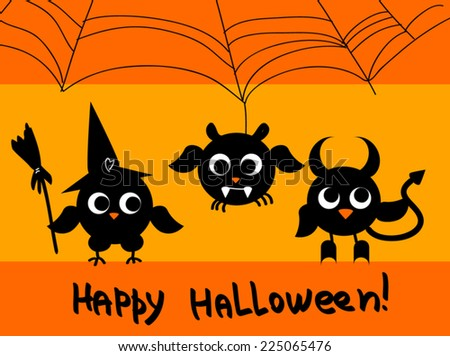 Cute halloween card �¢?? black owls  silhouettes as Witch, Devil, Spider. Vector flat illustration. Cartoon funny character of creatures. On orange background. As card, wallpaper, greeting, invitation. - stock vector