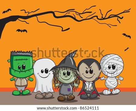 Cute Halloween card - Frankenstein, Ghost, Witch, Dracula, Mummy - stock vector