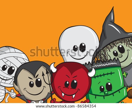 Cute Halloween card - Frankenstein, Ghost, Witch, Dracula, Mummy, Devil - stock vector