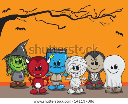 Cute halloween card - Witch, Devil, Monster, Mummy, Dracula and Ghost - stock vector
