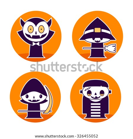 Cute Halloween character icons - stock vector