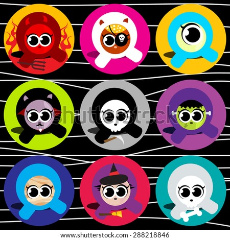 Cute halloween character icons vector illustration set. - stock vector