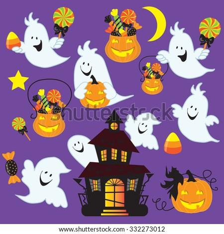 Cute Halloween ghost vector illustration - stock vector
