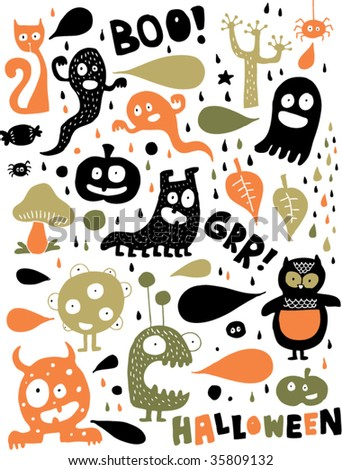 Cute Halloween monsters