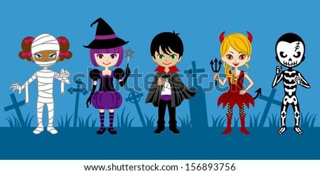 Cute Halloween Monsters,in graveyard - stock vector