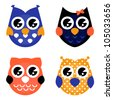 Cute Halloween owls collection isolated on white - stock vector