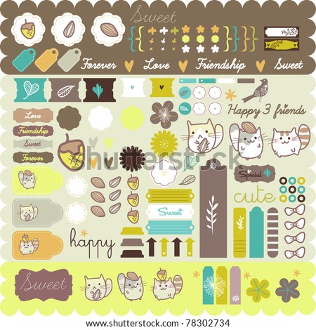 cute hamster sticker set- must have - happy scrapbooking project - stock vector