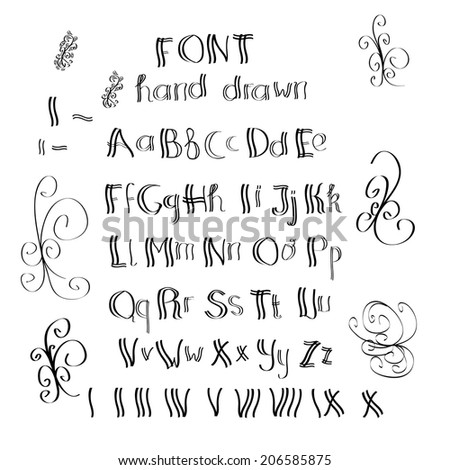 Cute Hand Drawn Alphabet Made In Vector ABC For Your Design Easy To Use