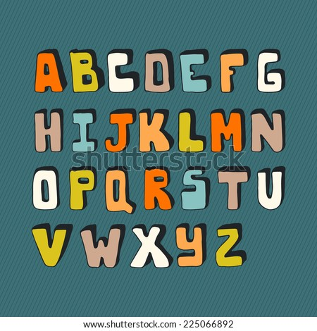 Cute hand drawn alphabet made in vector. ABC for your design. Easy to use and edit letters. Hand drawn digital isolated alphabet for DIY projects and design. - stock vector