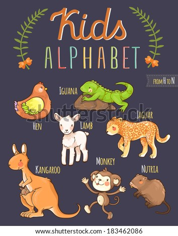 Cute hand drawn animal alphabet: letters from H to N - stock vector