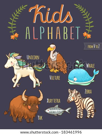 Cute hand drawn animal alphabet: letters from U to Z - stock vector