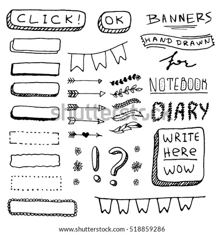 Cute Hand drawn Banners for your Design. Label for Notebook, Diary.