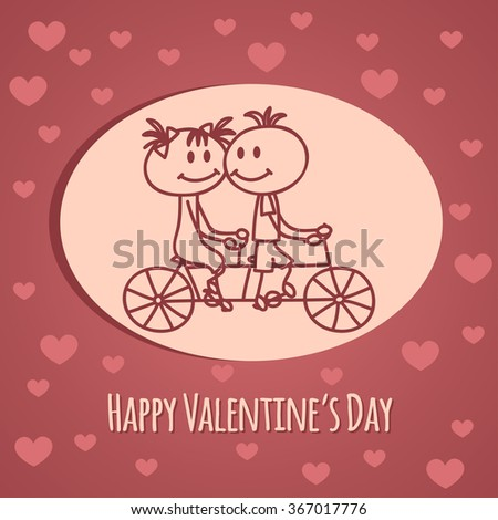 Cute hand drawn boy and girl (cartoon doodle)Valentine`s day background. Couple on tandem bicycle.