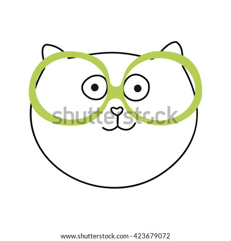 Cute Hand drawn Cat Vector Illustration.isolate cat.Cat in glasses.smiling. white.stupid.smart cat. the cat scientist.painted cat.funny fat face cat vector. - stock vector