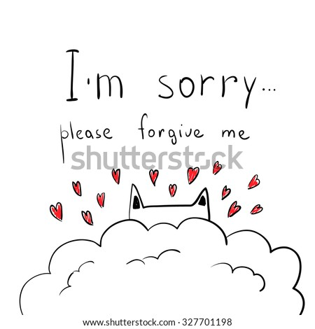 im sorry letters cat hearts apologize stock vector 3055