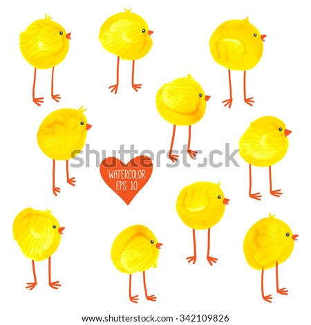 Cute hand drawn chicks pattern. Watercolor funny baby chickens. Watercolor / acrylic yellow kids craft. Cartoon vector eps 10 illustration on white background. Baby shower / Easter card design - stock vector