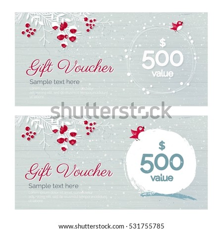 Cute Hand Drawn Christmas Gift Voucher Stock Vector Royalty Free