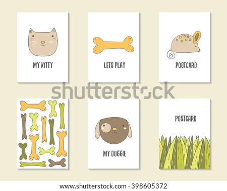 Cute hand drawn doodle birthday, party, baby shower cards, brochures, invitations with cat, dog, bone, mouse, grass. Cartoon objects, animals background. Printable templates set - stock vector