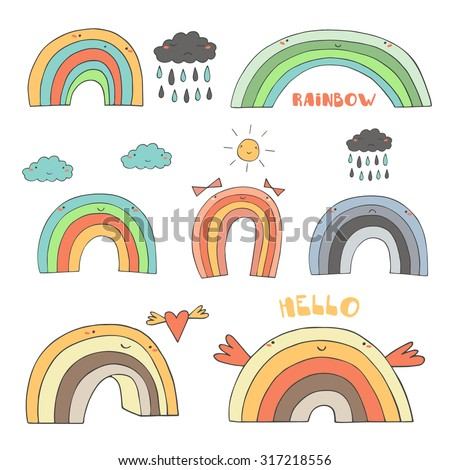Cute hand drawn doodle rainbow collection including rainbow with clouds, sun, heart, rainy cloud, girly bows, funny wings, sad rainbow. Rainbow, weather, icon, banner, logo in cartoon childish style - stock vector