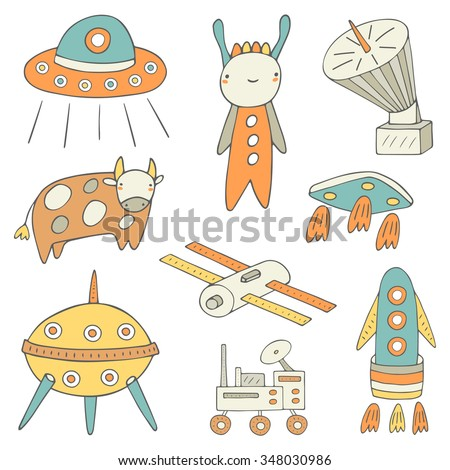 Cute hand drawn doodle space, cosmic objects collection including spaceship, ufo holding cow, rocket, satellite, alien, aircraft, shuttle, planet exploring machine. Space technology icon, banner, logo - stock vector