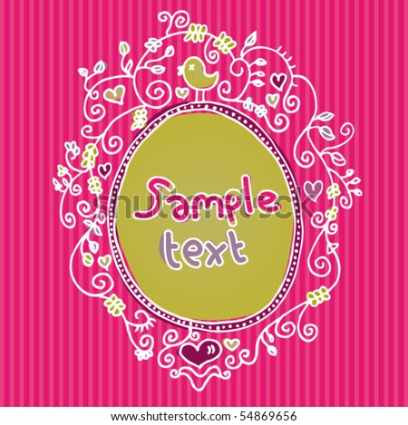 Cute hand drawn frame design in vector - stock vector