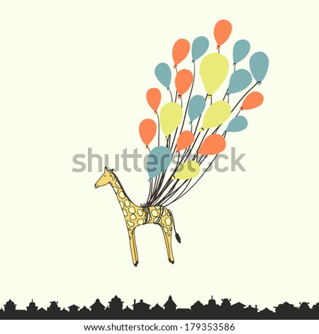 Cute hand drawn giraffe flying on the balloons - perfect newborn announcement card or happy birthday card template made in vector. - stock vector
