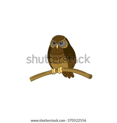 Cute hand-drawn horned little owl - stock vector