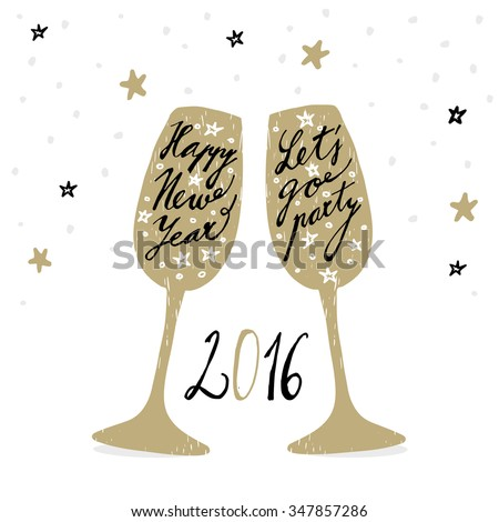 Cute hand drawn New Year 2016 greeting card with wine glasses, vector background - stock vector