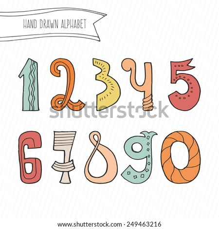 Cute hand drawn numers for kids made in vector. Doodle math elements from 0 to 9. Isolated characters. - stock vector