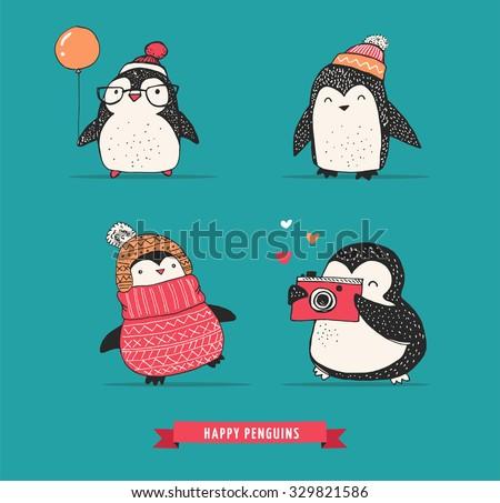 Cute hand drawn penguins set - Merry Christmas greetings - stock vector