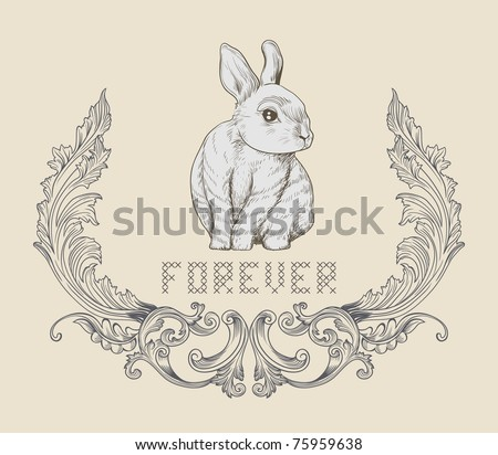 cute hand drawn rabbit on the cover - best for card design - tag - scrapbook project