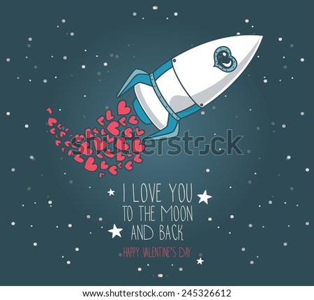 cute hand drawn rocket with hearts, stars background, lovely card for valentine's day, cosmic vector illustration - stock vector