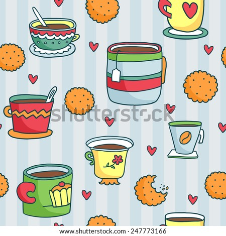 Cute hand-drawn seamless pattern with cups, cookies and hearts on blue striped background - stock vector